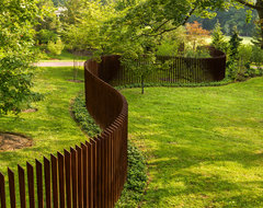 Cor-Ten Cattails Sculptural Fence industrial landscape