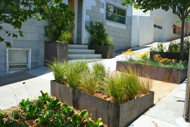 Cor-Ten planter boxes contemporary patio
