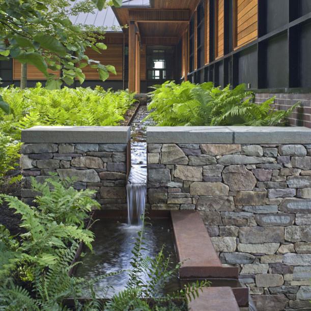 Corten steel drainage runnel modern landscape for Landscape drainage design