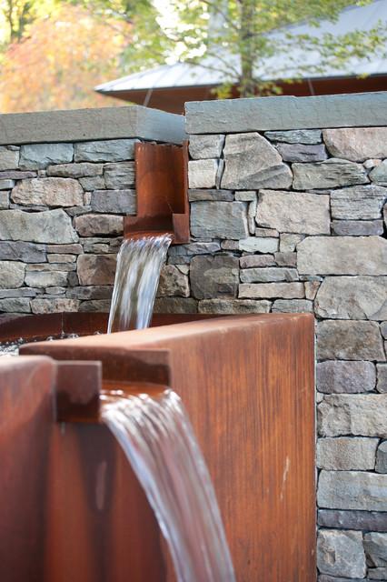 Corten Steel Water Feature Contemporary Landscape