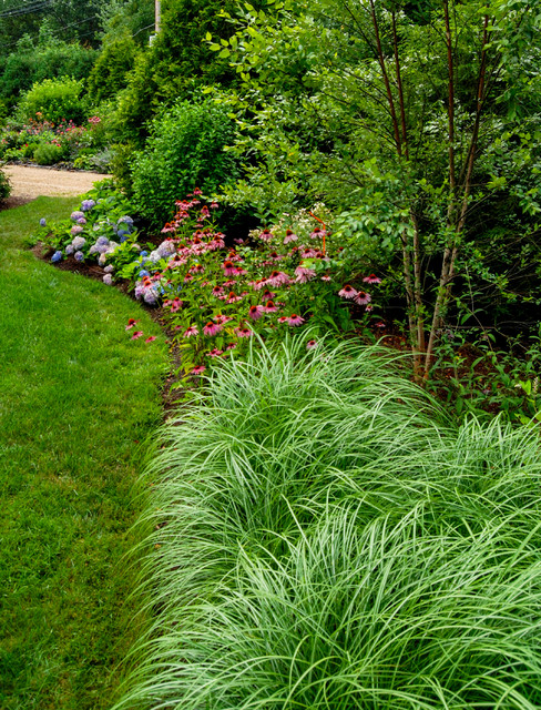 Country farm house farmhouse landscape boston by a for Grasses for garden borders