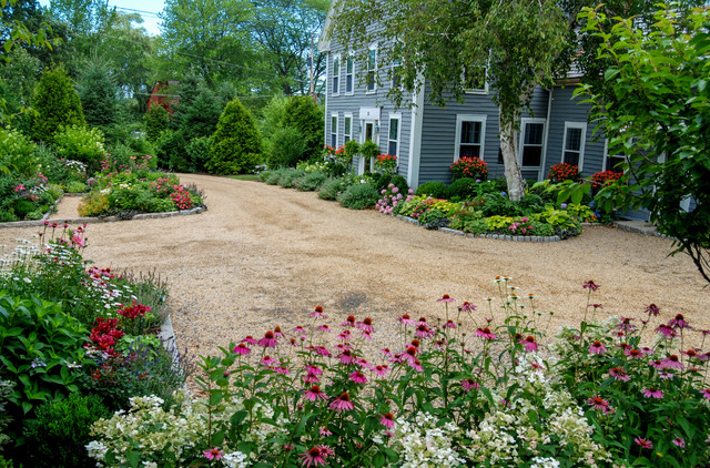 Country farm house farmhouse landscape boston by a for House garden driveway designs
