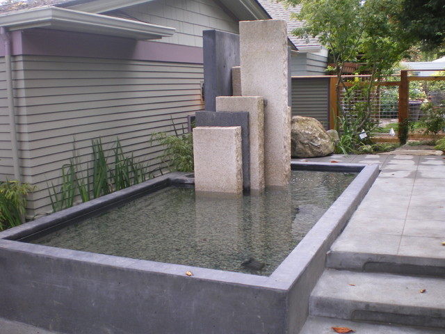 Court Yard with water feature, deck contemporary-landscape