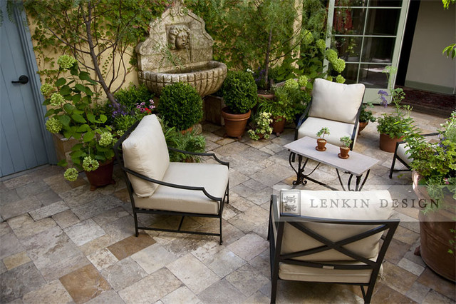 courtyard seating and stonework