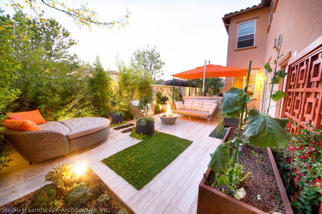 cozy backyard   raised container vegetable garden - modern - landscape - orange county