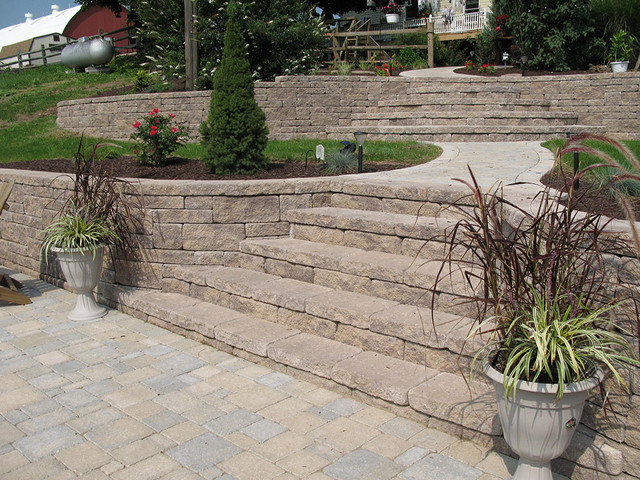 Creative Outdoor Stairs Options Using Allan Block Retaining Walls Cool Backyard Retaining Wall Designs Creative