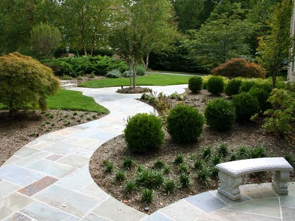 Curved flagstone walkway traditional landscape other for Garden design questions