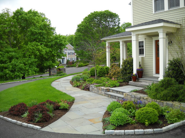 Curved Stone Walkway Leads To Front DoorTraditional Landscape, New York