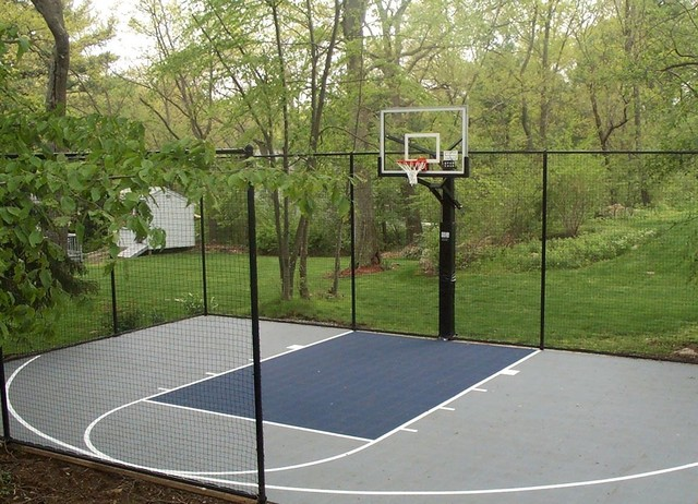 Custom Backyard Basketball Court in Beverly - Traditional - Landscape - Boston - by Sport Court ...