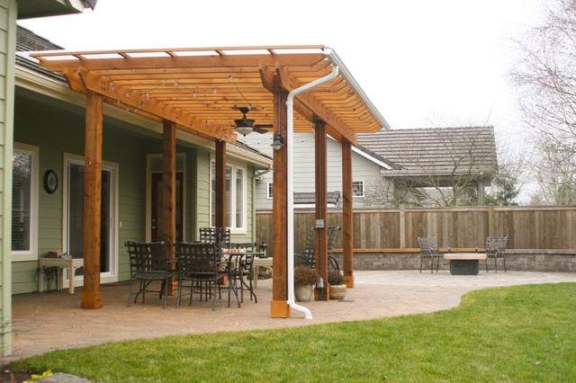 Custom Built Pergola With Lighting Irrigation And Electrical Access Craftsman Garden