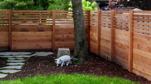 Custom Cedar Privacy Fence Traditional Landscape