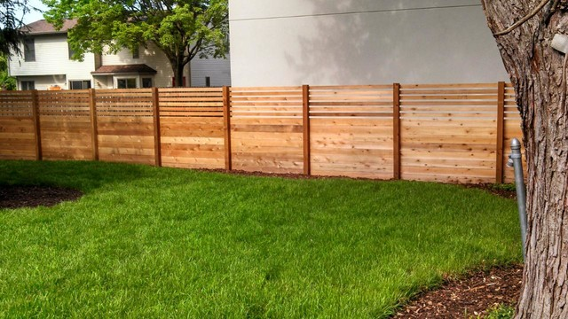Custom Cedar Privacy Fence Traditional Landscape