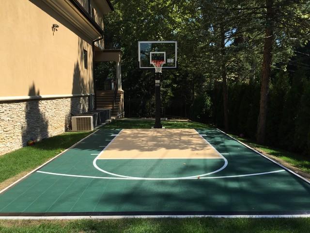 custom compact backyard basketball court new york by