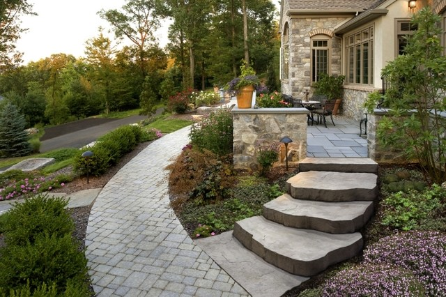 Custom front porch and steps contemporary landscape for Landscaping front steps