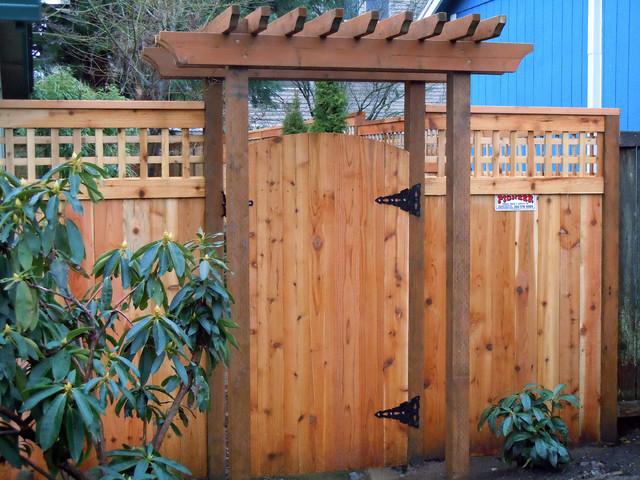 Custom Lattice Fence With Arbor
