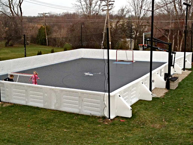 Custom multi sport backyard home court hockey futsal for Custom basketball court cost