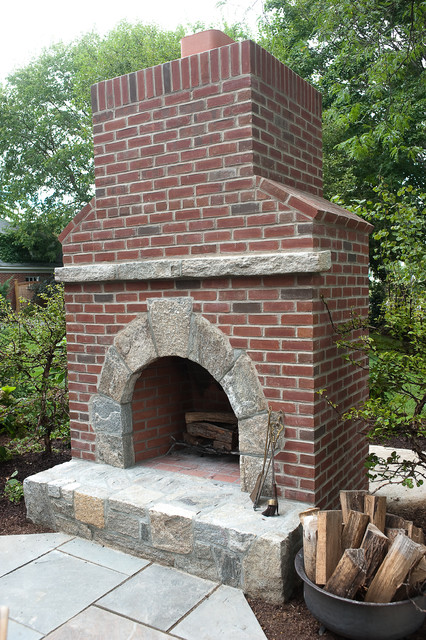 Custom Outdoor Kitchen, Fireplace and Dining eclectic-landscape