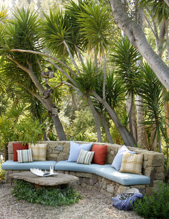 Custom Stone Bench - Tropical - Landscape - Santa Barbara - by Margie Grace - Grace Design Associates