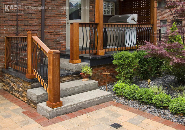 Custom Stone Porch asian landscape