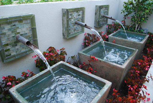 Custom triple fountain mediterranean-landscape
