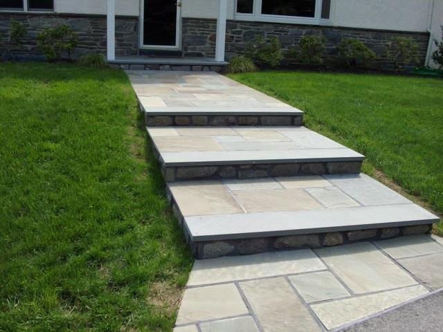Custom Wet Set Flagstone Front Steps Traditional Landscape