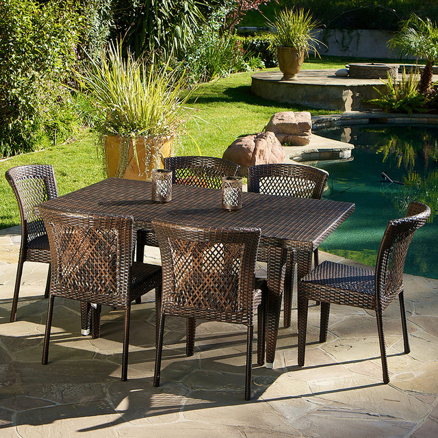 Dana point 7pc outdoor dining set contemporary for Great deals on outdoor furniture