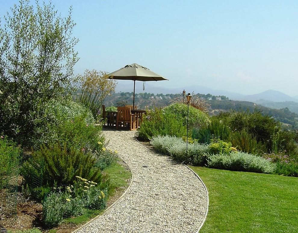 Inspiration for a mediterranean backyard gravel lawn edging in San Diego.