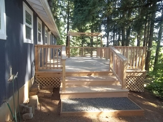Deck Stairs And Gravel Landing