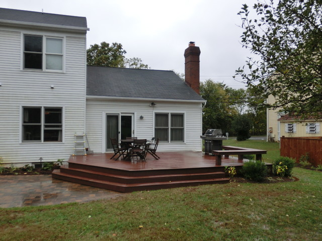 Deck With Bench And Wrap Around Steps Traditional Landscape
