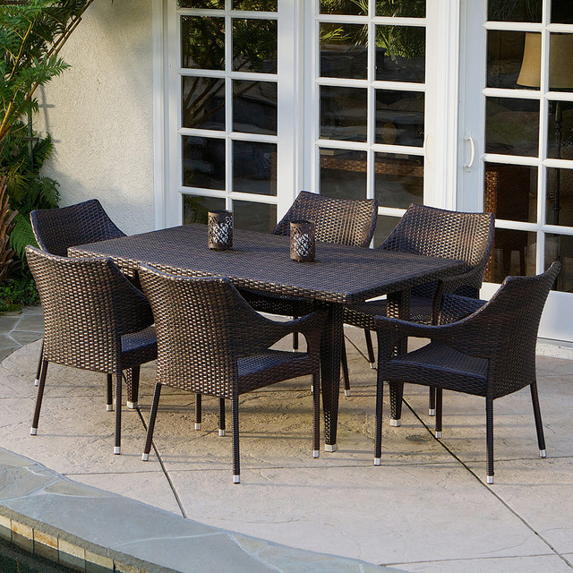 Del mar 7 piece outdoor dining set modern landscape for Best deals on patio furniture sets