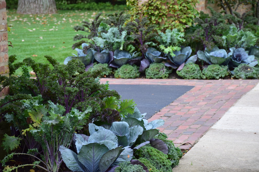 Design ideas for a traditional full sun front yard brick formal garden in Chicago for fall.