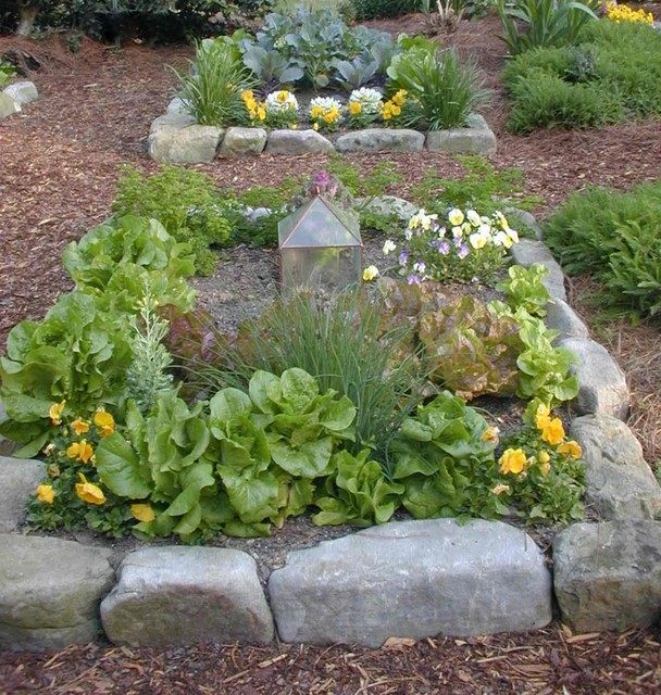 Detail Of One Man Boulder Edging For Raised Beds