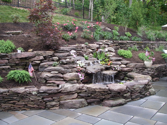 Double Waterfall Pond With Dry Stack Stone Wall