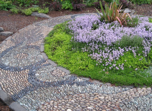 Dragon Ouroboros Pebble Mosaic Asian Landscape Portland By