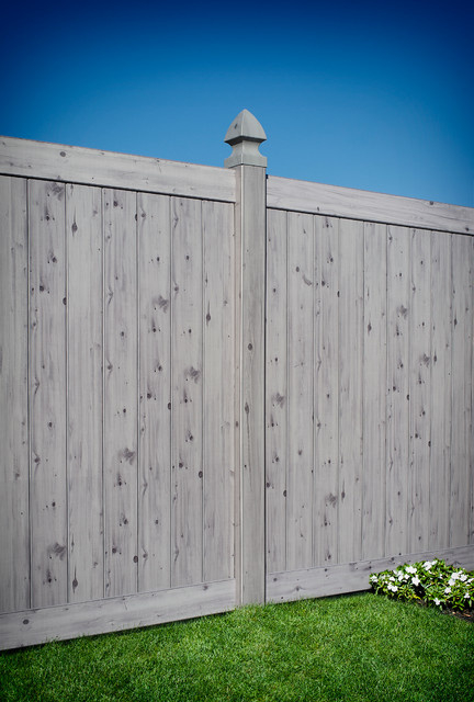 Driftwood wood grain pvc vinyl privacy fence by illusions vinyl fence