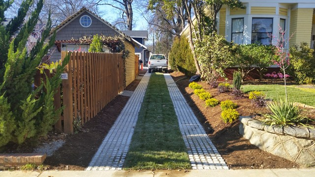 Drivable Grass Permeable Pavers Before & After - Craftsman