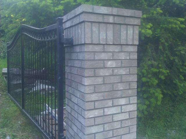 Driveway Entry Gate Brick Pillars Traditional
