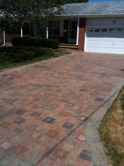 DRIVEWAY, WALKWAY, PATIO INSTALLATION USING TUMBLED STONE, traditional-landscape