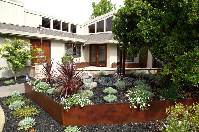 Drought tolerant contemporary front yard in wine country for Drought tolerant yard