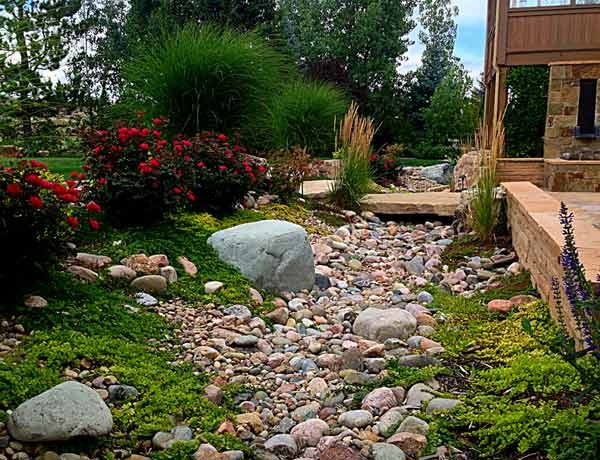 Dry Creek Bed and Stone Bridge Rustic Garden Denver by