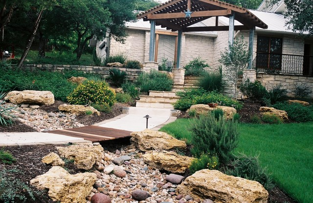Dry Creek Beds used for drainage - Rustic - Landscape - Austin - by ...