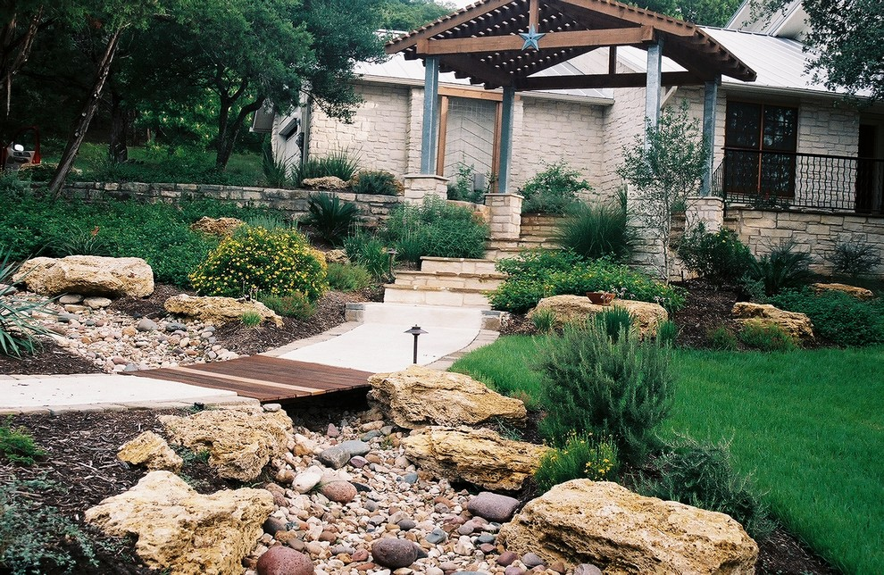 Dry Creek Beds Used For Drainage Rustic Landscape Austin