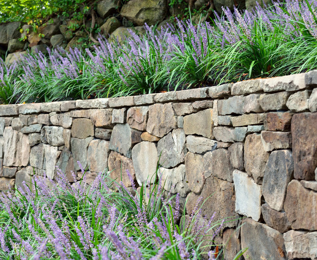 Dry Stack Stone Wall Landscape Architecture Belmont Ma