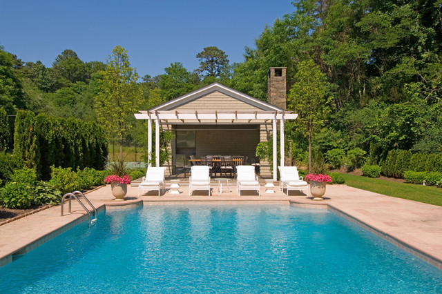 East hampton formal pool pool house for Pool design hamptons