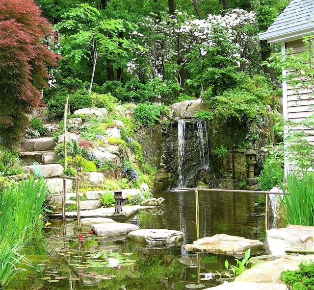 East Norwich Long Island Waterfall and Pond asian-landscape