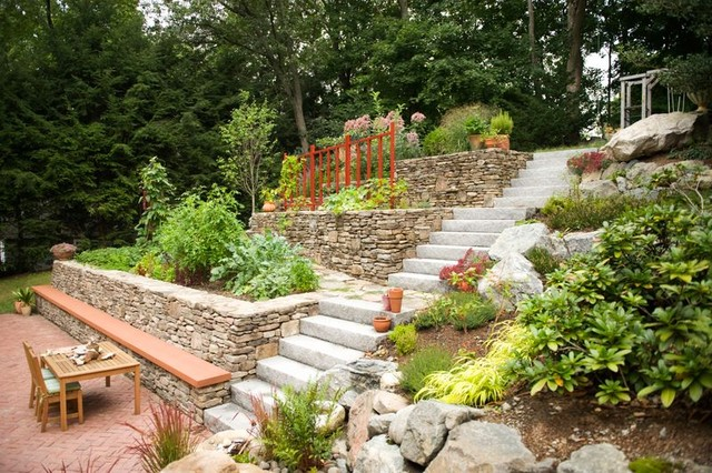 Edible Terraced Garden With Ramp And Seat Wall Contemporary landscape