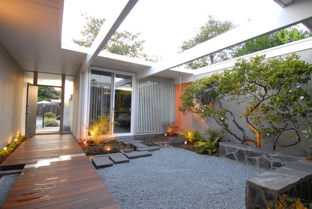 Eichler Atrium Midcentury Landscape San Francisco on mid century modern house plans with atriums
