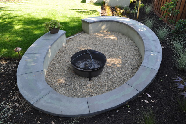Elliptical Concrete Bench modern landscape