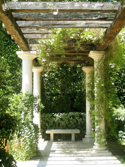 white column carport balcony elm arbor mediterranean landscape los angeles by bernard