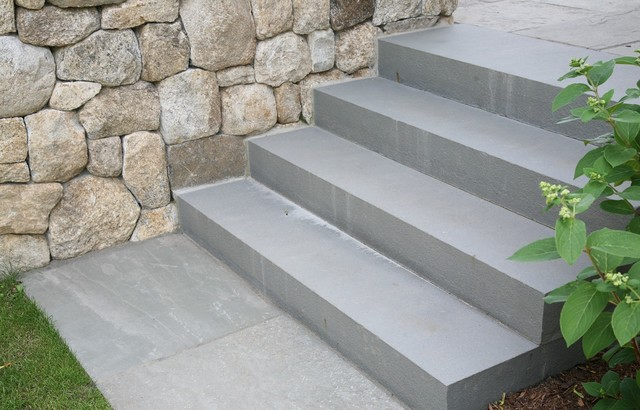 Enduring Materials Of Solid Bluestone Steps And Fieldstone Foundation  Transitional Garden